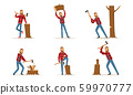 Cartoon Character Lumberjack In Plaid Shirt In Different Poses Vector Illustration Set Isolated On White Background 59970777