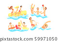 People Characters Having Vacation and Doing Water Activities Vector Illustrations Set 59971050