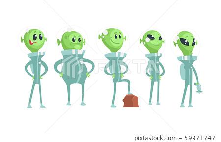 Cartoon Alien Characters Wearing Space Costume Vector Set 59971747