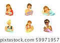 Mother Feeding Newborn Baby with Breast and Bottle Vector Set 59971957