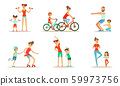 Parents With Children Doing Sports Exercises Together Vector Illustration Set Isolated On White Background 59973756