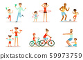 Joint Activity Of Parents And Children, Sports And Exercises Vector Illustration Set Isolated On White Background 59973759
