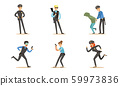 Police Characters In Daily Dangerous Work Vector Illustration Set Isolated On White Background 59973836