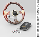 3d rendering of steering wheel with auto key, isolated on gray 59974038