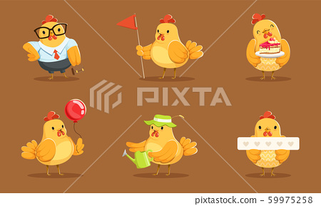 Animated Baby Chickens In Different Poses Vector Illustration Set Cartoon Character 59975258