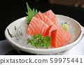Salmon raw slice or salmon sashimi in Japanese 59975441