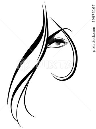 Woman face, hair style, long hair 59976167