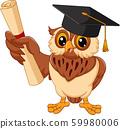 Cartoon owl wearing graduation cap holding diploma 59980006