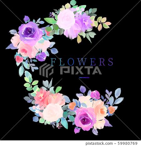 優雅美麗的水彩玫瑰花花卉花束 59980769