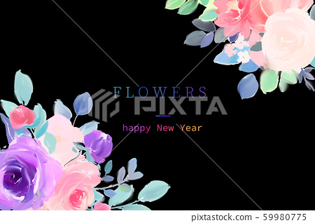 優雅美麗的水彩玫瑰花花卉花束 59980775