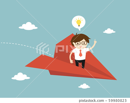 Business concept, Businessman is flying and get 59980823