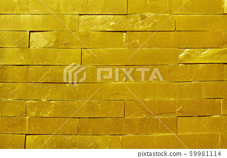 golden slate stone wall texture in natural pattern with high resolution for background and design art work. 59981114