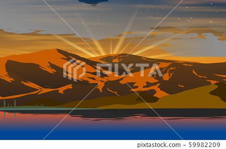 landscape of lagoon with the mountain background in morning 59982209