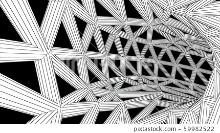 Abstract Black and White Strut Tunnel Cage - 3D Illustration 59982522