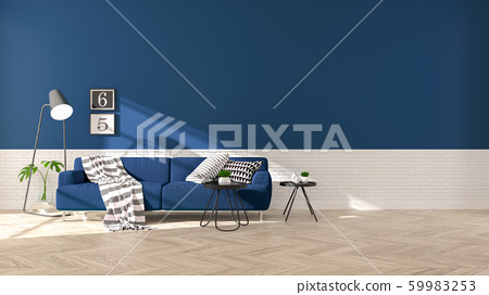 Modern interior of living room with  blue sofa on wood flooring and dark blue wall .emptry room ,3d rendering 59983253