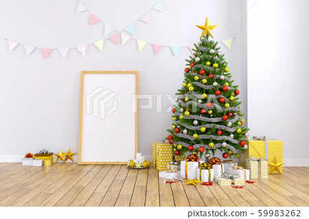 Modern and minimalist interior of living room ,christmas tree with frame mock -up on white wall and wood floor ,at home for the holidays,3d rendering 59983262