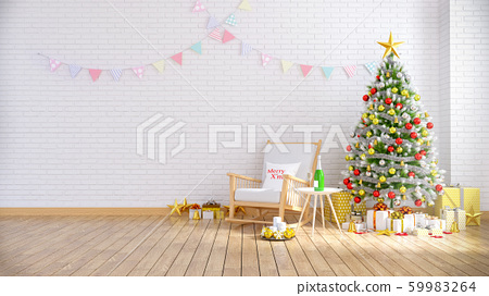 Modern and Loft interior of living room ,wood rocking chair with christmas tree on white brick wall and wood floor ,at home for the holidays,3d rendering 59983264