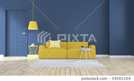 Modern and minimalist interior of living room,yellow sofa on blue wall and wood floor  ,3d rendering 59983269