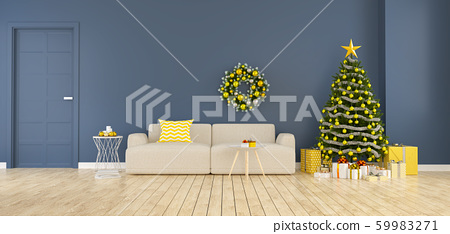 Modern and minimalist interior of living room ,chrismas tree with gift boxes decorate of  home for the holidays,3d rendering 59983271