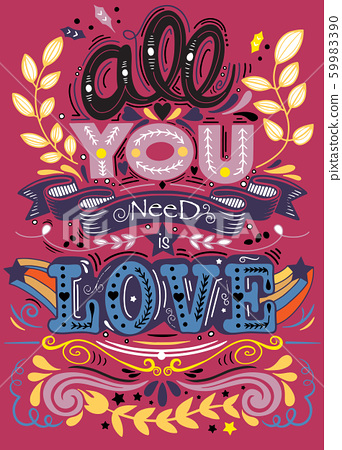 All you need is love hand drawn lettering apparel 59983390