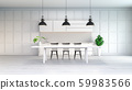 Mimimallist white kitchen room , white tabel with black chair and black lamp on white floor,3d render 59983566