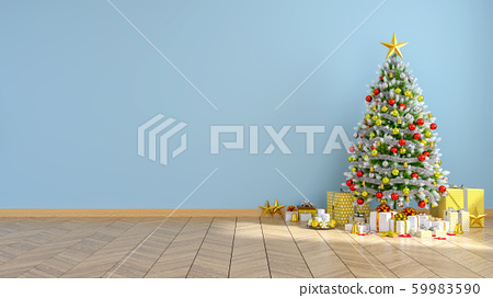 Modern  interior of living room , christmas tree on blue wall and wood floor ,at home for the holidays,empty room,3d rendering 59983590