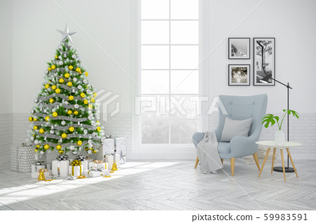 Christmas tree decorate on Scandinavia of living room ,blue armchair on white  wall and wood floor ,in holidays,3d rendering 59983591