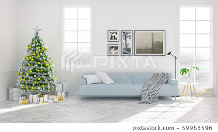 Christmas tree decorate on Scandinavia of living room ,blue sofa on white  wall and wood floor ,in holidays,3d rendering 59983596