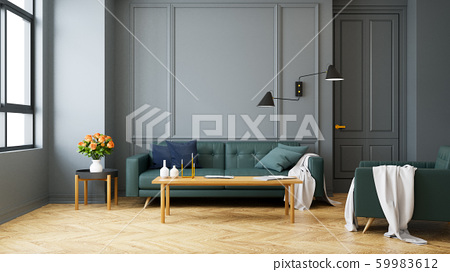 Vintage Modern  interior of living room, green sofa with wall lamp on wood flooring and dark gray wall  ,3d rendering 59983612