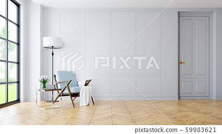 Modern interior of living room, blue armchair near black lamp and wood table  on parguet flooring and dark white wall  ,3d rendering 59983621