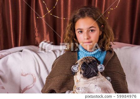 Chistmas garland on pug dog. Charming girl with a 59984976