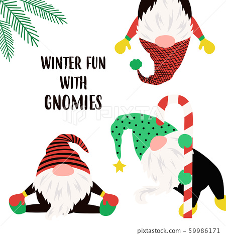 christmas winter card with funny gnomes 59986171