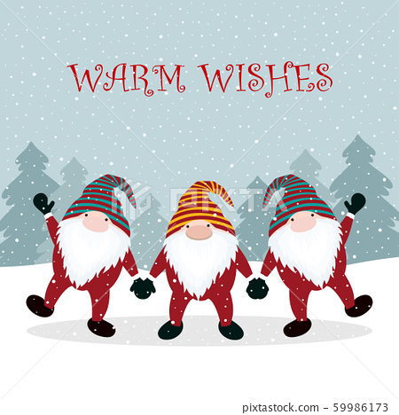christmas winter card with gnome 59986173