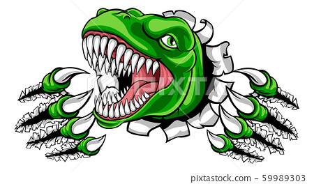 Dinosaur T Rex or Raptor Cartoon Mascot 59989303
