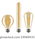 Edison light set. Realistic vector bulb decoration 59989435