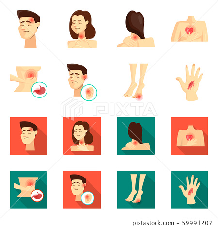 Isolated object of hospital and rendering logo. Set of hospital and help stock vector illustration. 59991207