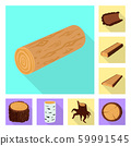Vector design of material and nature logo. Set of material and raw stock symbol for web. 59991545