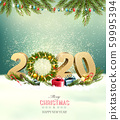 Holiday background with a 2020 and christmas 59995394