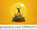 Happy businessman raising arms on red hoverboard in a snow globe on yellow background 59996263
