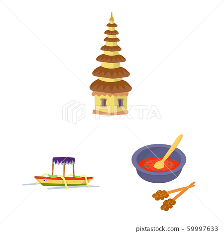 Vector illustration of bali and indonesia icon. Set of bali and caribbean stock symbol for web. 59997633