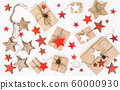 Christmas flat lay Eco friendly wrapped gifts red 60000930