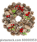 Christmas decoration wreath cones isolated white 60000959