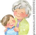 아이의 어깨에 손을 넣어 할머니 60004091