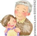 아이의 어깨에 손을 넣어 할아버지 60004092