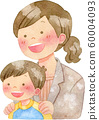 아이의 어깨에 손을 넣어 정장 차림의 여자 60004093