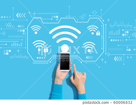 Wifi theme with person using a smartphone 60006832