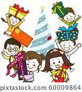 크리스마스 트리 선물을 보이는 어린이들 일러스트 60009864