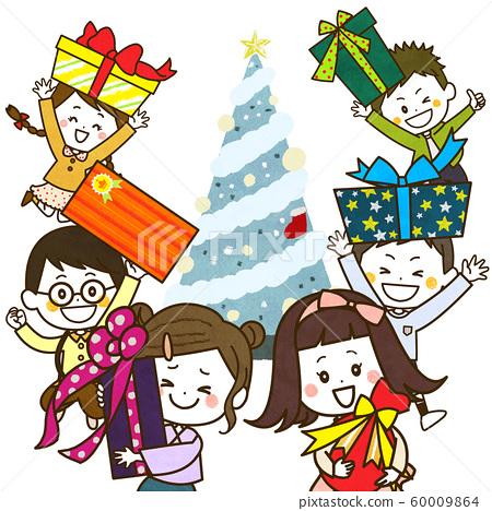 兒童展示聖誕樹禮物圖 60009864