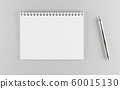 empty horizontal white paper spiral notebook with a metal pen 3d render illustration 60015130