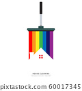 vector of squeegee scraping colorful rainbow over roof of house. home cleaning service business banner template 60017345